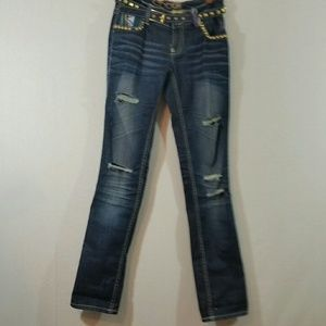 Coogie Studded Print Ripped Skinny Jeans Size 6